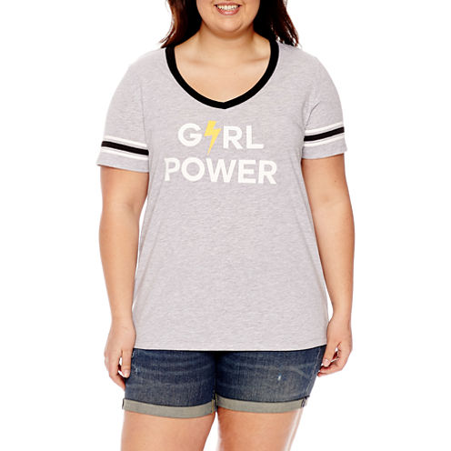 """Girl Power"" Graphic T-Shirt- Juniors Plus"