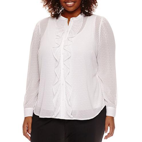 Worthington® Long Sleeve Swiss Dot Ruffle Front Blouse - Plus