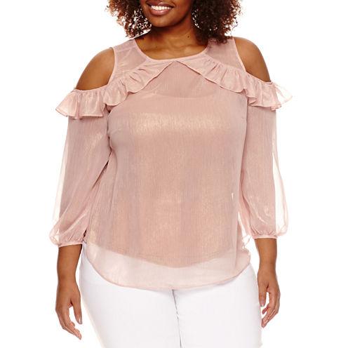 Worthington® 3/4 Sleeve Sleeve Cold Shoulder Woven Blouse - Plus