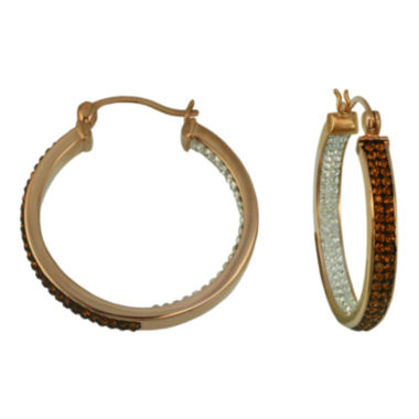jcpenney.com | Chocolate Crystal Inside-Out Hoop Earrings