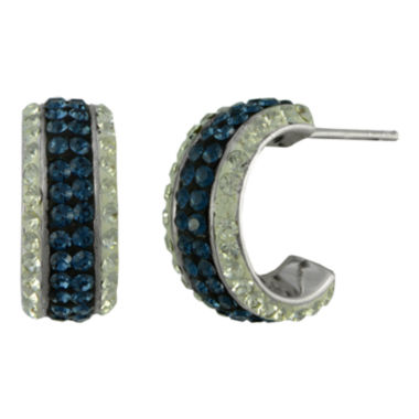jcpenney.com | Blue & White Crystal Huggie Hoop Earrings