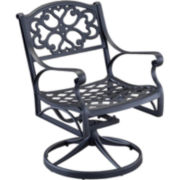 Biscayne Outdoor Swivel Dining Chair - Black Finish