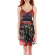 Fire Sleeveless Print Slip Dress
