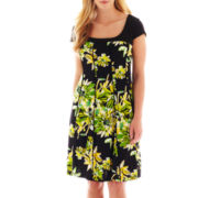 R&K Originals Cap-Sleeve Seamed Floral Dress - Plus