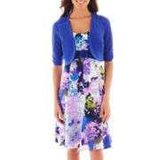 Perceptions Floral Belted Dress with Jacket - Petite