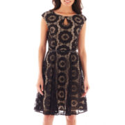 London Style Collection Sleeveless Lace Keyhole Dress - Petite
