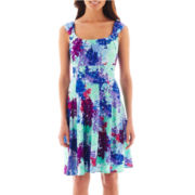 London Style Collection Sleeveless Floral Fit-and-Flare Dress - Petite