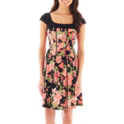 R&K Originals Cap-Sleeve Seamed Floral Dress - Petite