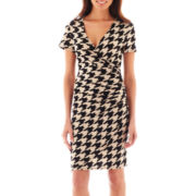 MSK Short-Sleeve Houndstooth Dress - Petite