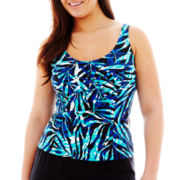 St. John's Bay® Palm Print Princess Seam Tankini Swim Top - Plus