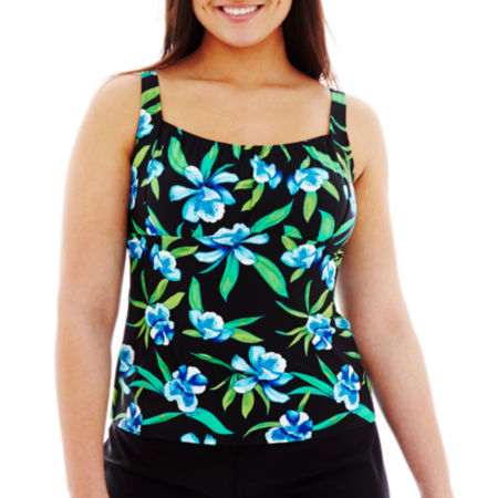 St. Johns Bay Floral Print Peasant Tankini Swim Top - Plus