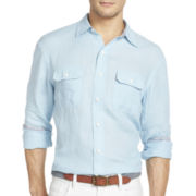 IZOD Long-Sleeve Solid Linen-Cotton Woven Shirt