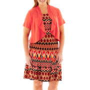 Danny & Nicole® Short-Sleeve Print Dress with Jacket - Plus
