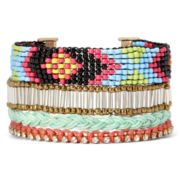 Arizona Sead Bead and Braided Cord Multi-Row Bracelet