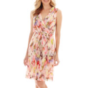 Liz Claiborne® Sleeveless Floral Print Pleated V-Neck Dress