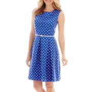 Liz Claiborne® Sleeveless Belted Polka-Dot Fit And Flare Dress