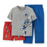 Carter's® 3-pc. Baseball Pajama Set - Toddler Boys 2t-5t