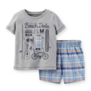 Carter's® Graphic Tee and Plaid Shorts Set –Toddler Boys 2t-5t