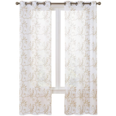 jcpenney.com | Hanson 2-Pack Embroidered Grommet-Top Curtain Panels