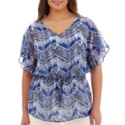Alyx® Short-Sleeve Tie-Waist Print Poncho Top