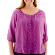 St. John's Bay® 3/4-Sleeve Button-Front Embroidered Peasant Top - Plus