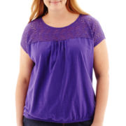 St. John's Bay® Short-Sleeve Lace-Yoke Knit Top - Plus