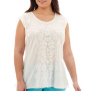 Worthington® Short-Sleeve Embroidered Mesh-Trim Top - Plus