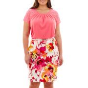 Worthington® Gathered-Neck Top or Sateen Print Pencil Skirt - Plus
