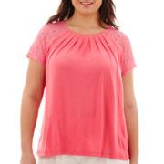 Worthington® Short-Sleeve Gathered-Neck Top - Plus