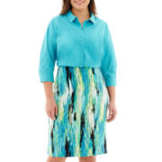Worthington® Button-Front Top or Stretch-Knit Print Skirt - Plus