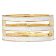Monet® White and Gold-Tone Bangle Bracelet