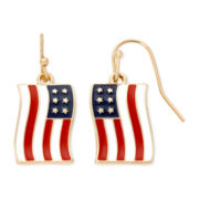 Liz Claiborne® Gold-Tone Drop American Flag Earrings