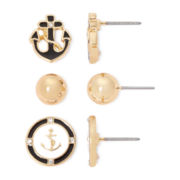 Liz Claiborne® Gold-Tone 3-pr. Anchor Stud Earring Set