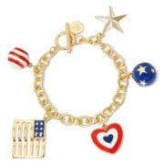 Liz Claiborne® Americana Gold-Tone Charm Bracelet