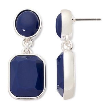 jcpenney.com | Liz Claiborne® Blue Stone Silver-Tone Double Drop Earrings