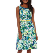 Evan-Picone Sleeveless Floral Belted A-Line Fit-and-Flare Dress