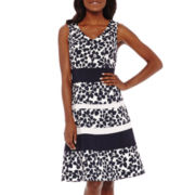 Evan-Picone Sleeveless Floral Colorblock Fit-and-Flare Cotton Dress