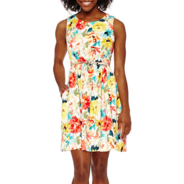 jcpenney.com | Studio 1® Sleeveless Belted Floral Fit-and-Flare Dress - Petite