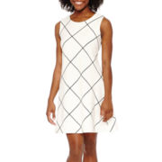 Tiana B. Sleeveless Grid Print Fit-and-Flare Dress - Petite