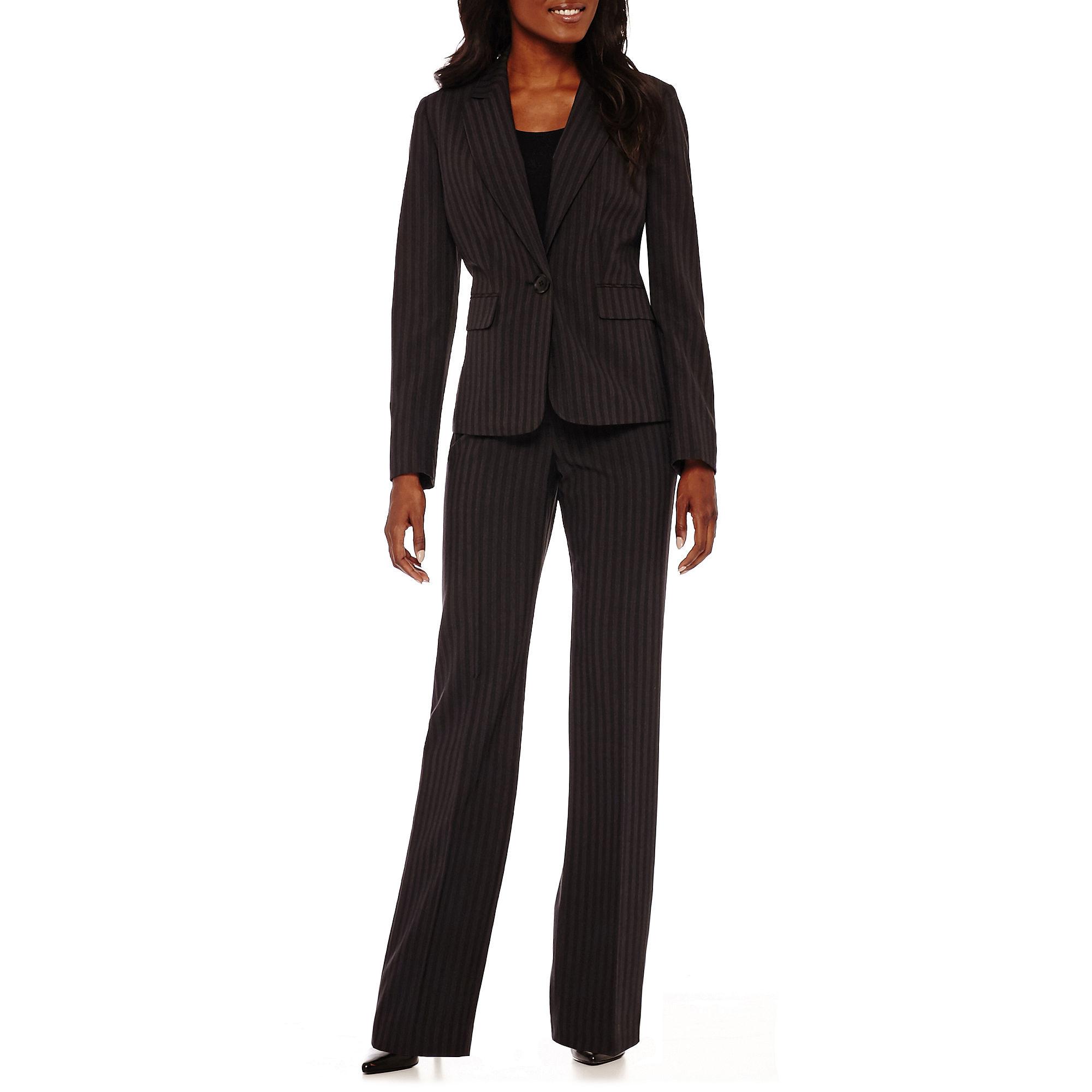 Le Suit Long-Sleeve 1-Button Pinstriped Jacket and Pants Suit Set plus size,  plus size fashion plus size appare