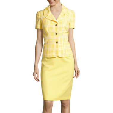 jcpenney.com | Isabella Short-Sleeve Window Pane Print Skirt Suit