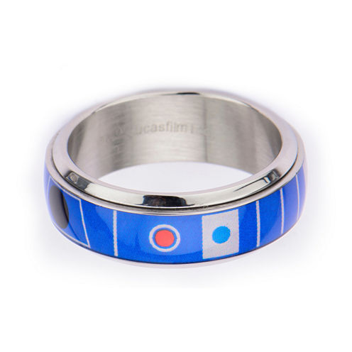 Star Wars® Mens Stainless Steel R2D2 Spinner Ring