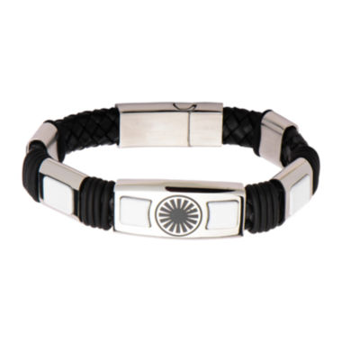 jcpenney.com | Star Wars® Stainless Steel & Leather Episode VII Stormtrooper First Order Logo Bracelet