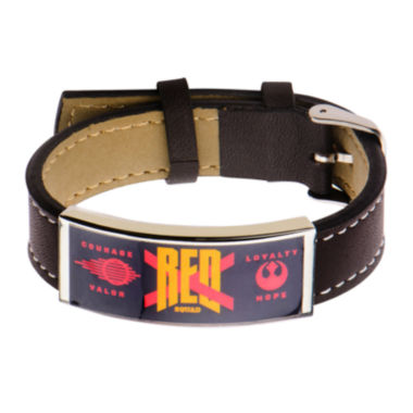 jcpenney.com | Star Wars® Stainless Steel & Leather Episode VII Red X ID Bracelet