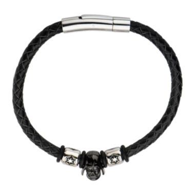 jcpenney.com | Star Wars® Two-Tone Stainless Steel and Leather Black IP Darth Vader Bracelet