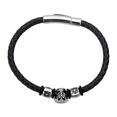 Star Wars® Stainless Steel and Leather Stormtrooper Bracelet