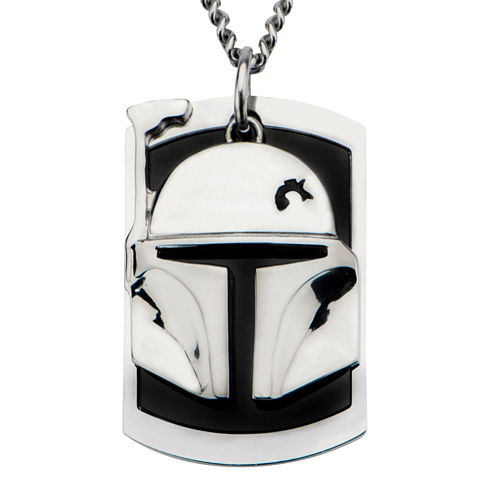 Star Wars® Two-Tone Stainless Steel Boba Fett Helmet Dog Tag Pendant Necklace
