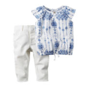 Carter's 2-pc. Ruffle-Sleeve Cotton Shirt and Pants Set - Baby Girls newborn-24m