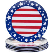 Certified International Stars & Stripes Set of 6 Melamine Dinner Plates