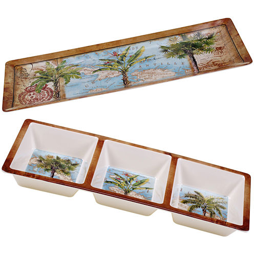 Certified International Antique Palms 2-pc. Melamine Appetizer Set